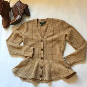 Ralph Lauren Plaid Peplum Cardigan Sweater